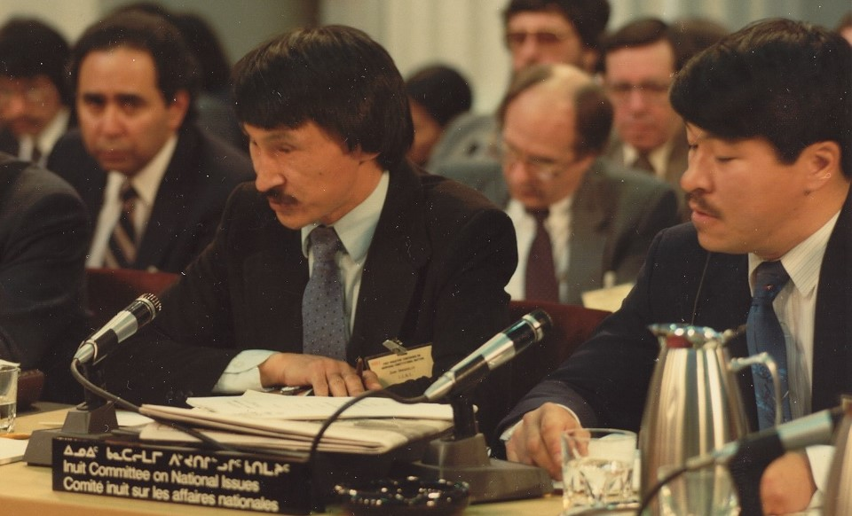#42 John Amagoalik and Zeebeedee Nungak at Constitutional Negotiations Ottawa 1981 Credit ITK archives Suggest placing ion page 189